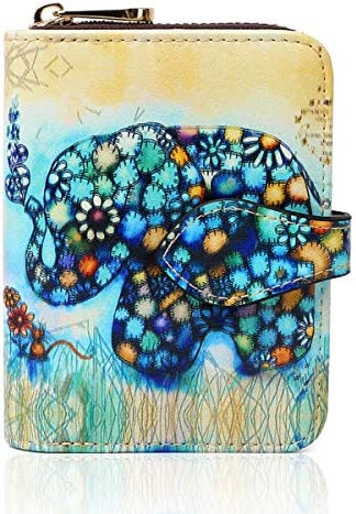 APHISON Damen Leder Geldbörse Damen Kreditkartenetui RFID Scheckkarten Kartenetui Akkordeon Stil Kleine Geldbeutel Cartoon-Muster Kartenetui für Mädchen/Geschenkbox (001 New)
