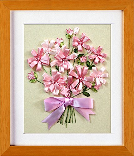 Ribbon embroidery Kit,Fanryn 3D Silk ribbon embroidery Pink bow Flowers pattern design Cross Stitch Kit Embroidery for beginner DIY Handwork Home Decoration Wall Decor 30x35cm (No frame)