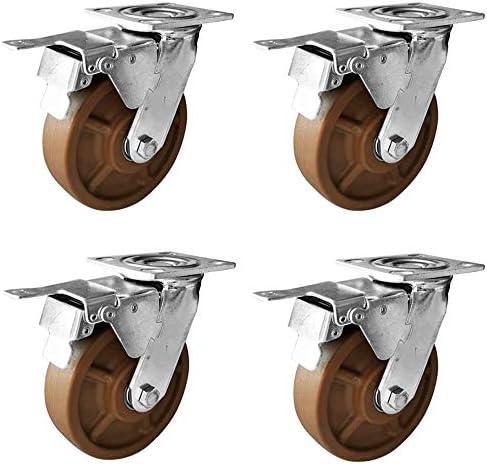 4つの頑丈なキャスター-耐高温性、ブレーキ付きスイベルキャスター、オーブンカートキャスター、400kg-4 / 5/6/8 In