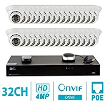 GW Security 32CH H.265 4K NVR 4-Megapixel (2592 x 1520) Plug & Play Security Camera System, 32pcs 4MP 1520p 3.6mm Wide Angle POE Weatherproof Dome IP Cameras, 80ft Night Vision