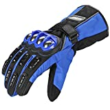 ILM Alloy Steel Motorcycle Riding Gloves Warm Waterproof Windproof for Winter Use (M, BLUE(WINTER))
