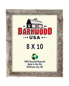 BarnwoodUSA Rustic 8x10 Inch Picture Frame 1.25 Inch Wide - 100% Reclaimed Wood, Weathered Gray