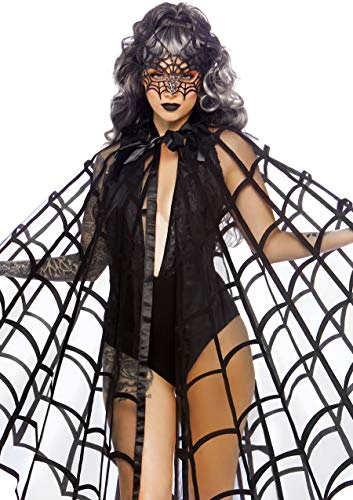 Black Widow Spider Costume (Leg Avenue Women's Velvet Web Cape and Tie, Black, One)