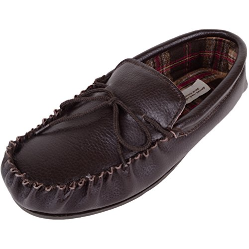 Mens Brown Leather Moccasin Slippers with Cotton Lining and Hard Sole. Size 7 8WzgGAI
