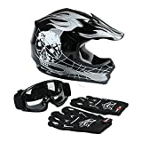 TCT-MT Youth Helmet+Goggles+Gloves DOT Motocross Hot Youth Kids Helmets Black Skull Dirt Bike ATV Helmet Large