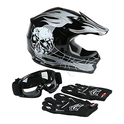 - TCT-MT Youth Helmet Motocross+Goggles+Gloves DOT Hot Youth Black Skull Dirt Bike ATV Large