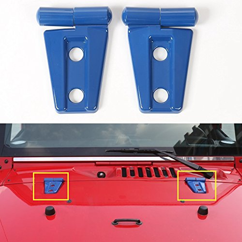AVOMAR 2Pcs ABS Engine Hood Hinge Cover for 2007 – 2017 Jeep Wrangler (Blue)