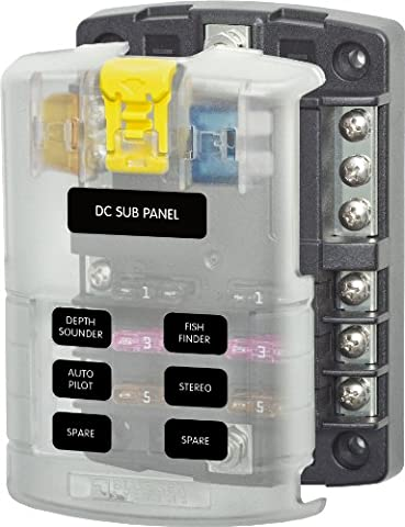 Blue Sea Systems 5025 ST Blade Fuse Block - 6 Circuits with Negative Bus and Cover - Blue Light Marina