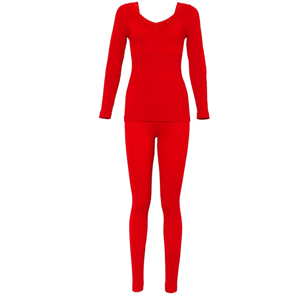 Big red personal warmth/ women's thermal plastic/Underwear/ base set/Thermal suit-A One Size