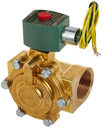 ASCO 8220G029 -120/60,110/50 Brass Body Hot Water and Steam Pilot Operated Diaphragm and Piston Valve, 125 psi Maximum Steam Operating Pressure, 1-1/2'' Pipe Size, 2-Way Normally Closed, EPDM Sealing, by Asco