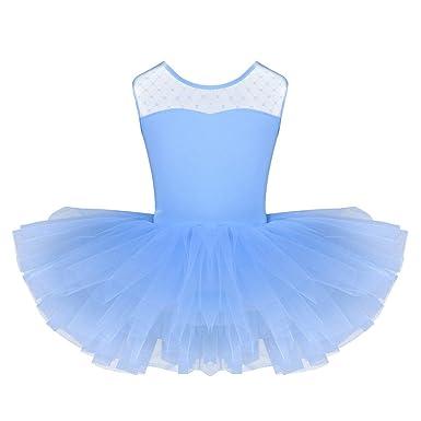 iiniim Maillot de Ballet Niña Tutú Vestido con Braga Interior Traje de Baile Leotardo con Falda Malla Gimnasia Disfraz Bailarina Fiesta Navidad ...