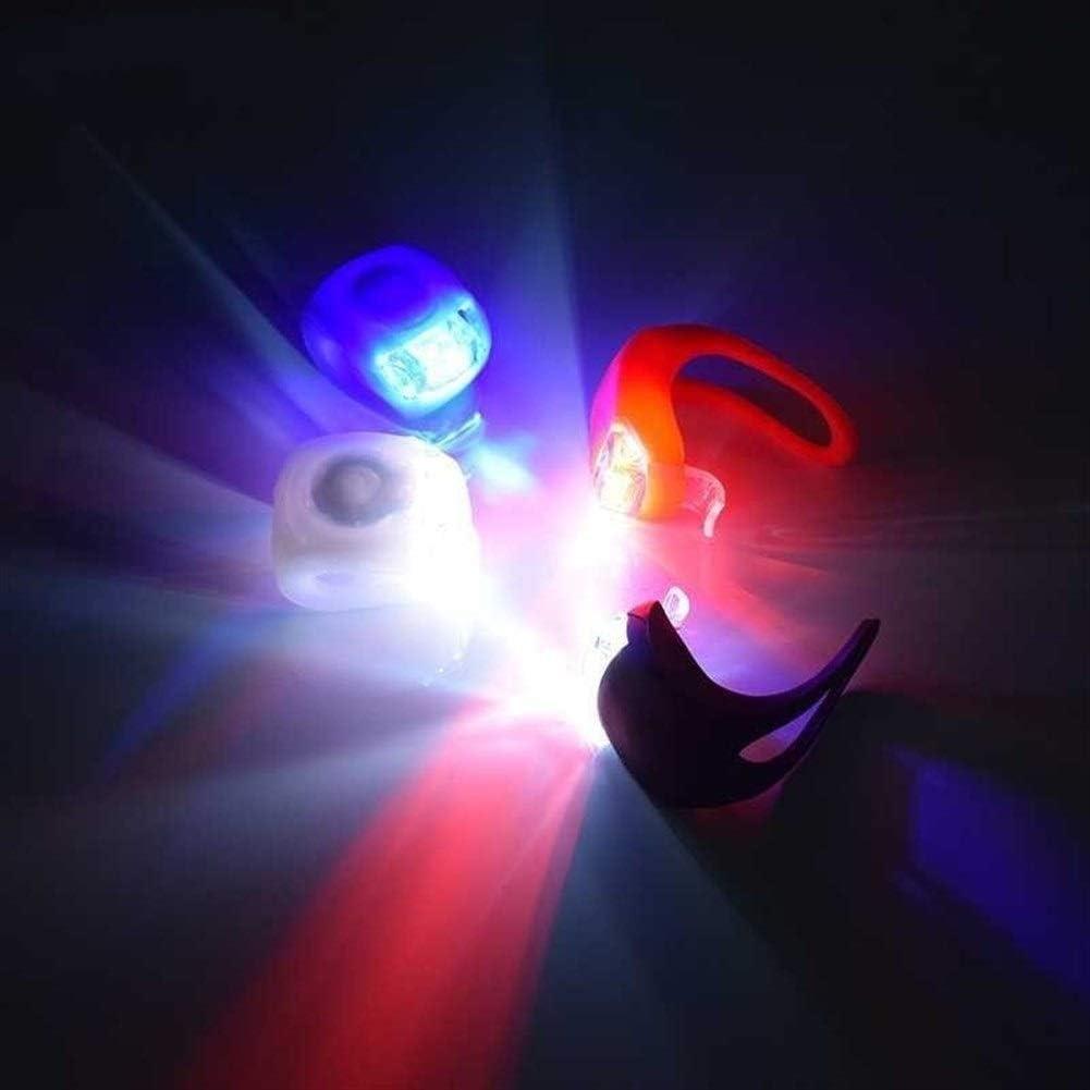 Xiaokai 4PCS Lumières de vélo Silicone vélo léger tête Avant Roue arrière LED Lampe Flash Avertissement vélo étanche Sport Cadeau pour Hommes Femmes Enfants Blue