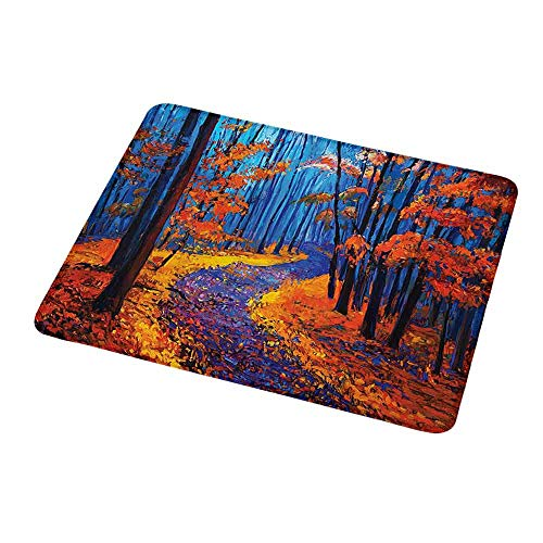 Personalized Mouse Pad Country,Dark and Deep in The Forest in Fall Autumn Season Calm Magical Nature Art Paint,Orange Navy,Customized Desktop Laptop Gaming Mouse Pad 9.8