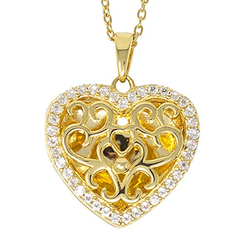 With You Lockets-Fine Yellow Gold-Custom Photo Heart Locket Necklace-That Holds Pictures for Women-The Mary ()