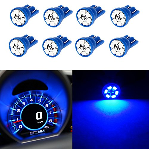 Partsam 8PCS T10 194 168 W5W 2825 Wedge Instrumental Panel LED Light Gauge Cluster Dash Indicator Bulbs, Blue (1989 Chevy Interior Parts compare prices)