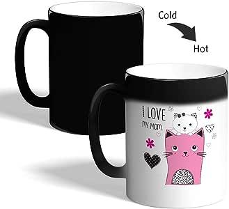 I love you mom Printed Magic Coffee Mug, Black