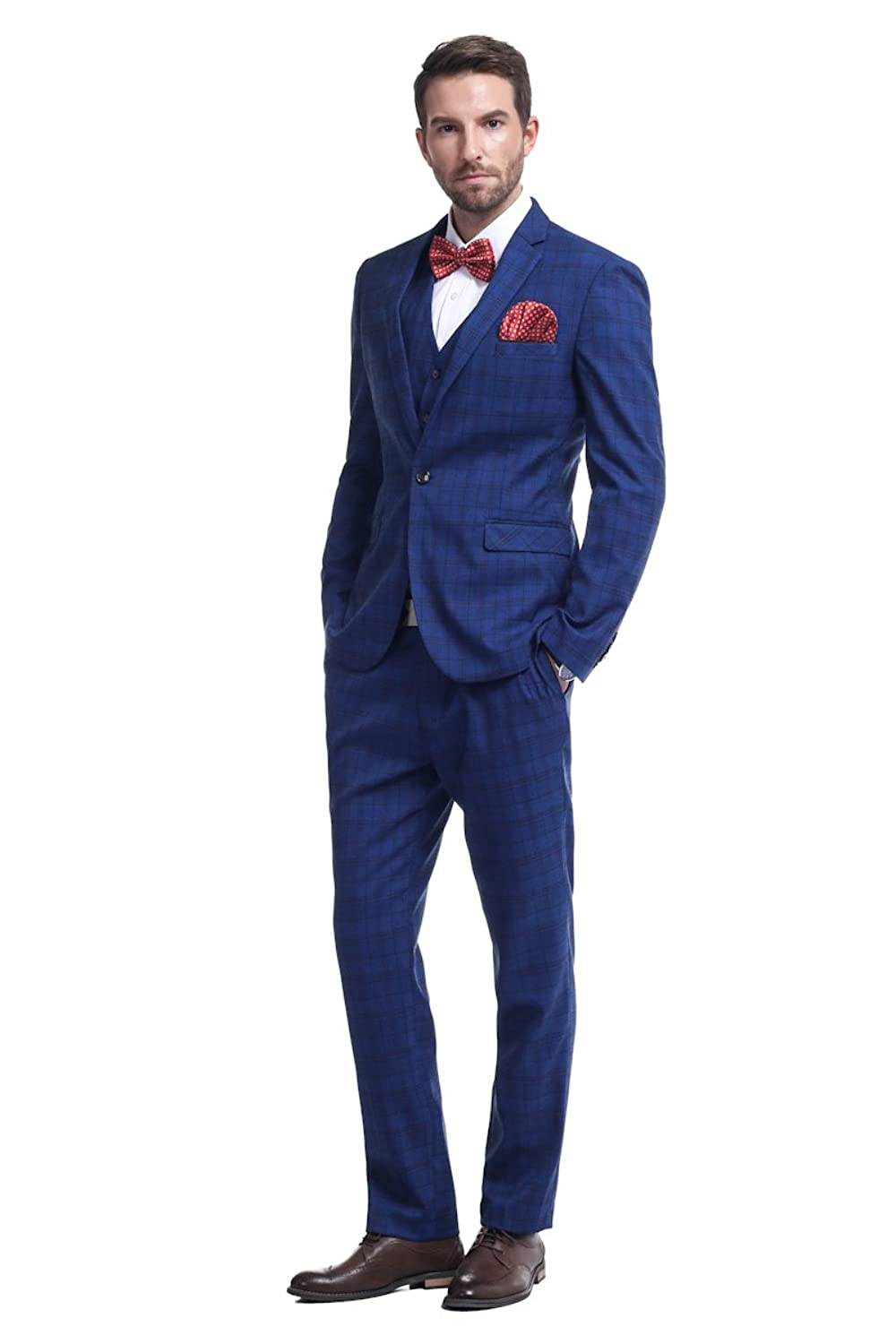 Men's Vintage Style Suits, Classic Suits Cloudstyle Mens One-Button Designer Luxurious Suits Plaid Tuxedos 3-Piece Set $103.99 AT vintagedancer.com