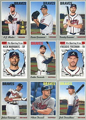 - 2019 Topps Heritage Baseball Atlanta Braves Team Set of 18 Cards: Sean Newcomb(#17), Jesse Biddle(#48), Ender Inciarte(#105), Julio Teheran(#122), Adam Duvall(#145), Shane Carle(#160), Darren O'Day(#171), Chad Sobotka/Bryse Wilson(#172), Johan Camargo(#206), A.J. Minter(#232), Josh Donaldson(#278), Kevin Gausman(#295), Dansby Swanson(#316), Arodys Vizcaino(#321), Mike Foltynewicz(#327), Freddie Freeman(#362), Nick Markakis(#368), plus more