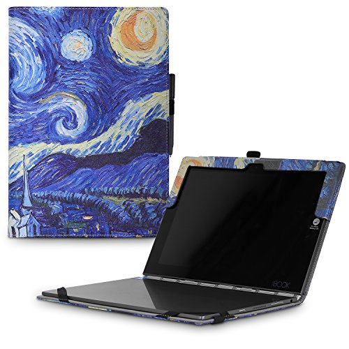 MoKo Lenovo Yoga Book Case, Ultra Compact Slim Folio Leather Cover Case for Lenovo Yoga Book YB1-X90F, YB1-X91F 10.1 Inch 2-in-1 Tablet/Laptop, Starry Night
