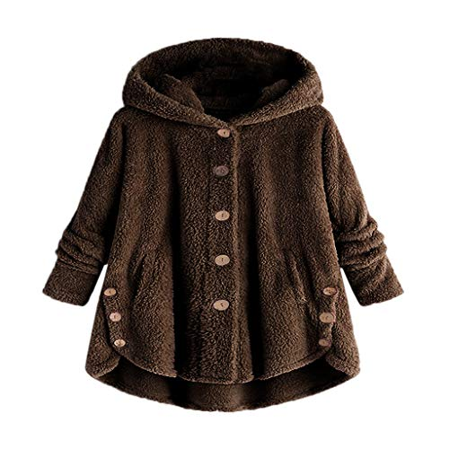 - Sunmoot Hooded Faux Fur Coats for Women Long Teddy Bear Jacket Button Fluffy Pullover Loose Sweater