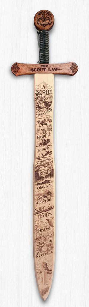 Campfire Arts Boy Scout Law - Wooden Sword Wall Art - Hand Crafted - Made in the USA