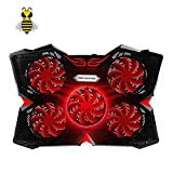 Tree New Bee 15.6''-17'' Laptop Cooling Pad Cooler,Gaming Laptop Cooling Pad with Five 120mm Fans at 1200rpm, Ultra-Portable and Ultra-Light (Black and Red)