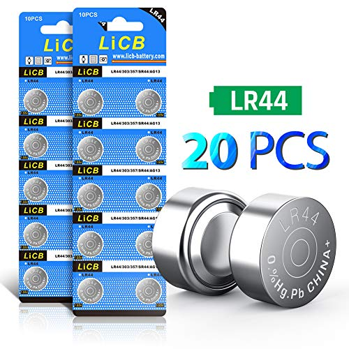 LiCB 20 Pack LR44 AG13 357 303 SR44 Battery 1.5V Button Coin Cell Batteries ()