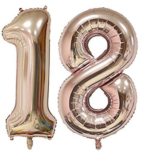 Tellpet Rose Gold Number 18 Balloon, 40 Inch ()