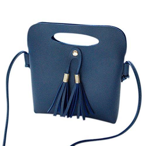 JAGENIE Moda Bolso de Hombro de Las Mujeres Bolso Crossbody Messenger Tote Tassel Ladies Purse Negro Azul