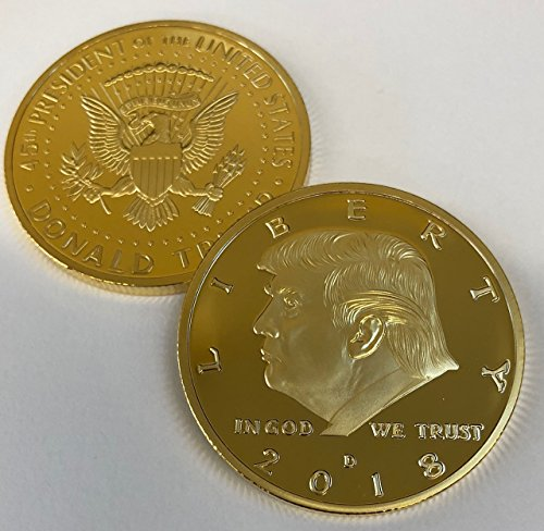 Aizics Mint 2018 President Donald Trump GOLD Eagle Commemorative Novelty Item 38mm. 45th President of the United States of America CERTIFICATE OF AUTHENTICITY - POTUS (Commemorative Novelty)