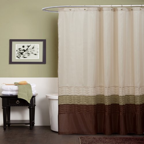 Lush Decor Mia Shower Curtain | Fabric Color Block Striped Neutral Bathroom Decor, 72