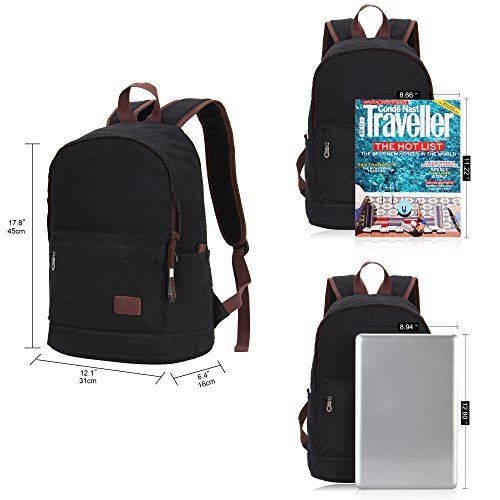 Hynes-Eagle-Unisex-Casual-Daypack-Canvas-School-Travel-Backpack-23-Liters
