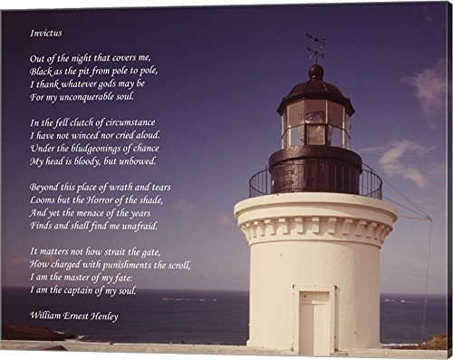 Invictus Poem (Lighthouse) Canvas Art Wall Picture, Gallery Wrap, 20 x 16 inches