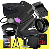 Two Canon EOS 70D DSLR Camera with 18-55mm STM f/3.5-5.6 Lens LP-E6 Lithium Ion Replacement Battery and External Rapid Charger + 32GB SDHC Class 10 Memory Card + 58mm 3 Piece Filter Kit + 58mm 2x Telephoto Lens + 58mm Wide Angle Lens + Mini HDMI Cable + M