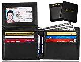 KALMORE Men's Genuine Leather RFID Blocking Flip-ID Window Travel Bifold Wallet - in Gift Box (Black)