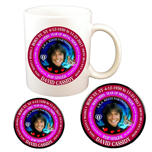 (David Cassidy 70's Singer Cup + Magnet + Pin, Astrology Aries Zodiac Metal Tiger)