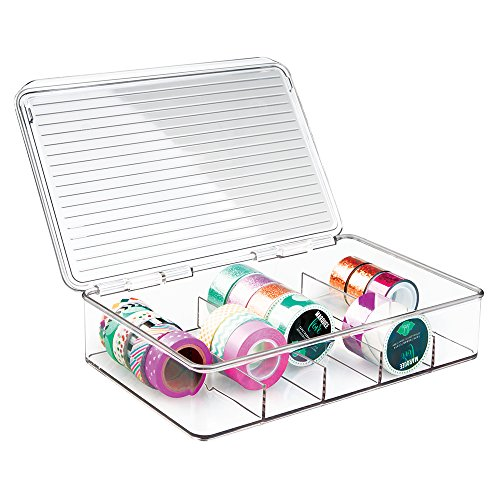 mDesign Plastic Art Supplies, Crafts, Crayons and Sewing Stacking Storage Organizer Box Container Holder Tidy with lid for organizing Washi Tapes Small Marker Ribbons Trims Beads – Divided, Clear
