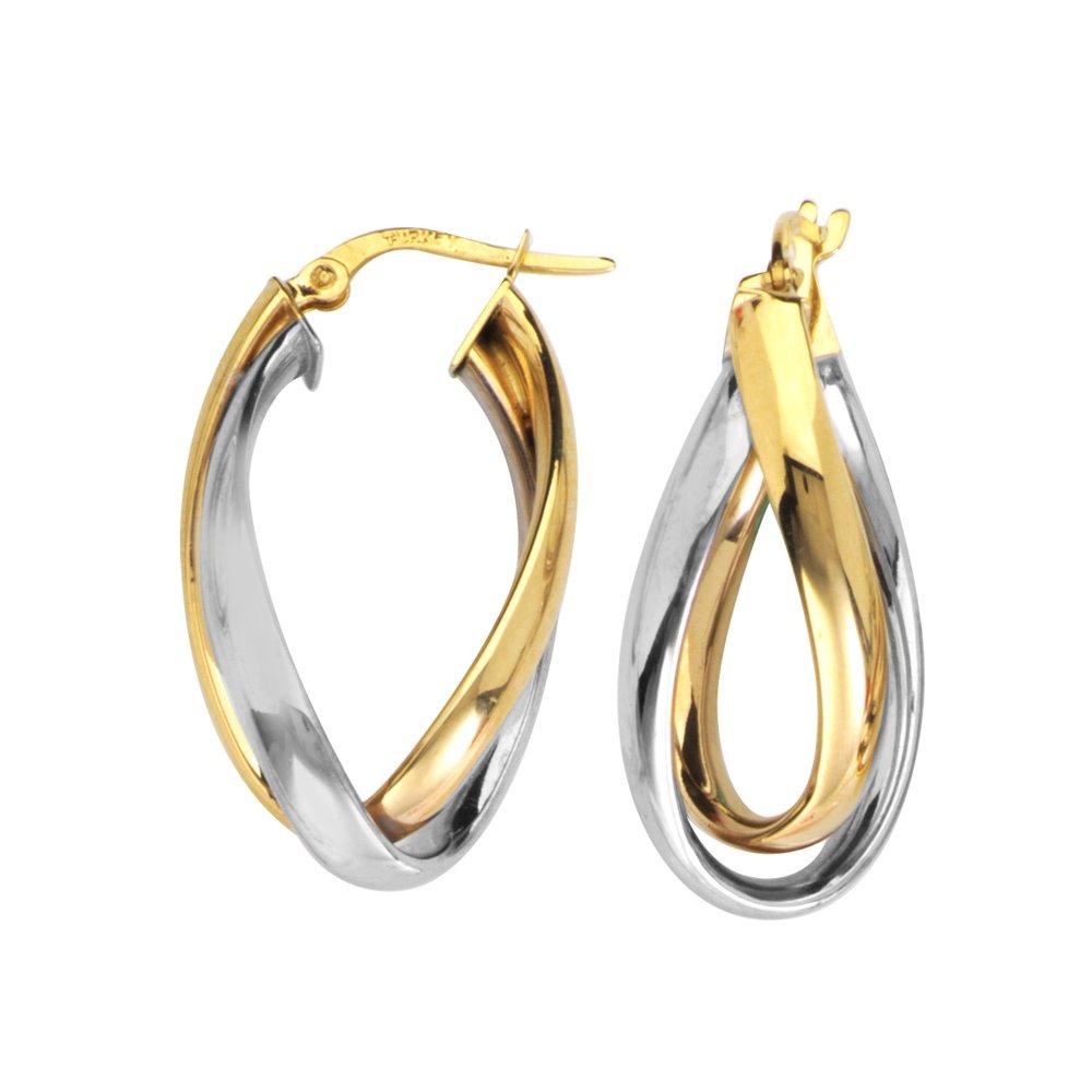 HOOP EARRINGS 10KT GOLD INTERWOVEN PLAIN TUBE HOOP EARRING