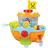 Happytime Bathtime Pirate Ship Bathtub Bath Toy for kids with Water Cannon and Boat Scoop