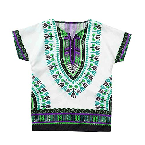 Kehen- Kid Boys Girl Dashiki Shirts African Shirts Kids Summer Casual Short Sleeve Clothes Kaftan Tops Green ()