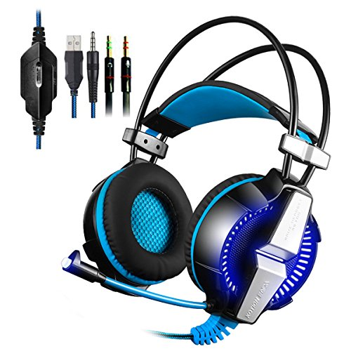 PS4 Gaming Headset KingTop Xbox One LED Lighting Computer Headphone with Mic Stereo Bass for PlayStation4 Xbox One PC Tablet Laptop Mobile Phones Smartphones (Sony 3-5 Mm Jack Headphones For All Mobiles)