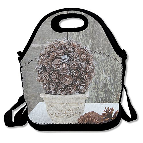 (Pinecone Topiary Lunch Tote Bag Lunchbox With Adjustable Shoulder Strap For Work Kids Women Men)