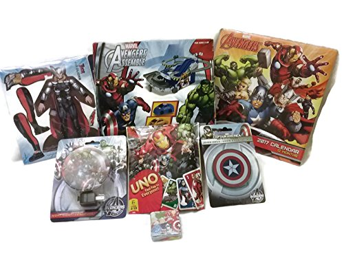 Marvel Avenges Fun Games Bundle - 1 x Avengers Asesmble Mini Race Car Set, Uno Cards, Glider, Calendar, Jumbo Eraser, Night Light & Magic Towel - (7 (Custom Made Captain America Costume)