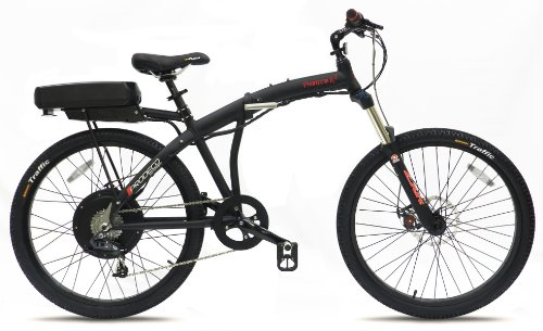 Prodeco  Phantom X2 8 Speed Folding Electric Bicycle, Matte Black, New Model V5 / 26- inch