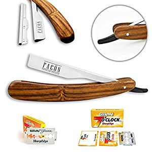 Facón Professional Wooden Straight Edge Barber Razor/Rasoirs/Rasoi - Salon Quality Cut Throat Shavette - Japanese Stainless Steel - Top Selling Model Limited Edition - Includes 5 DE Razor Blades