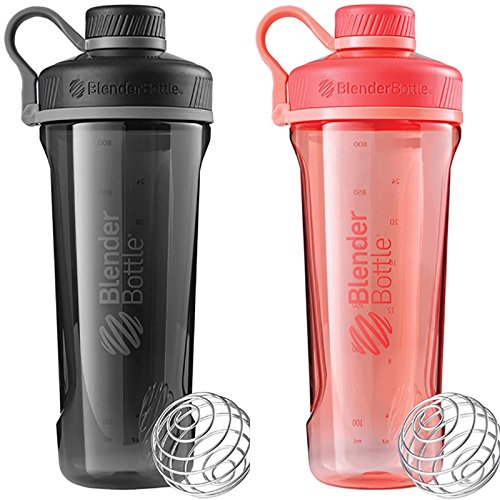 Tank Buddies 100 Tab (2 Pack Blender Bottle Radian 32 oz. Tritan Shaker Bottle with Loop Top (Black : Coral))