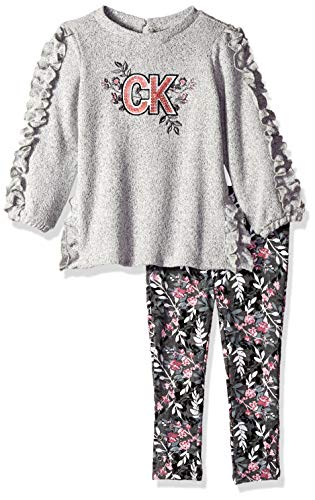 - Calvin Klein Girls' Toddler 2 Pieces Tunic Legging Set, Gray/Print, 3T
