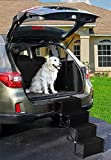 Dog Car Accordion Folding Stairs - Metal Frame Collapsible Pet Ramp with Four Steps - Lightweight, Portable, Adjustable Ramp Ladder for Car, SUV, Truck, Couch, Bed (4 Step, Black)