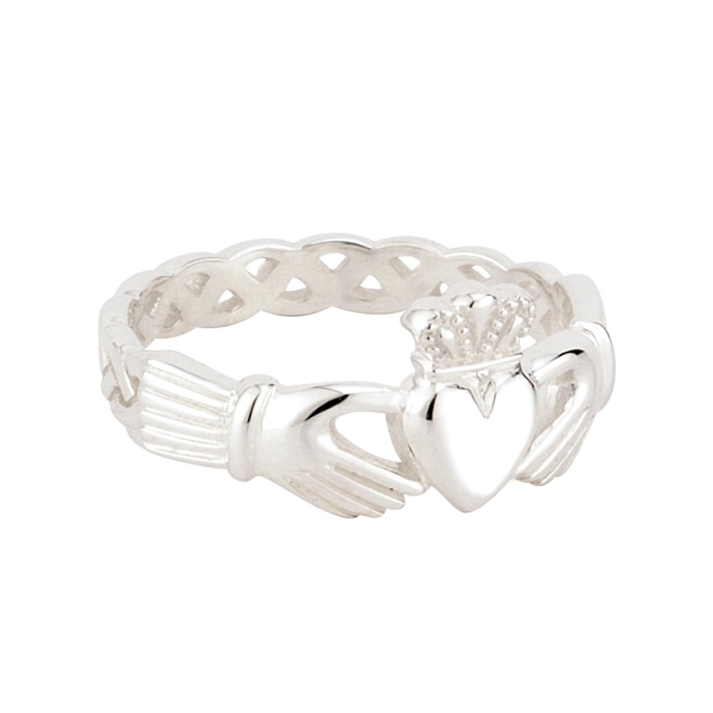Claddagh Ring Sterling Silver Woven Band Made in Ireland Size 8