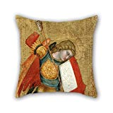 Loveloveu Oil Painting Sienese School Of The 14th Century - St. Michael And The Dragon Throw Pillow Covers 18 X 18 Inches / 45 By 45 Cm For Lounge,dance Room,deck Chair,saloon,bar,chair With Two Si